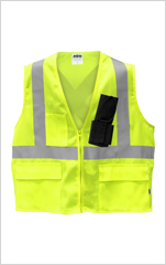 Hi-Viz 3 Pocket Poly Field Vest c/w Radio Holster